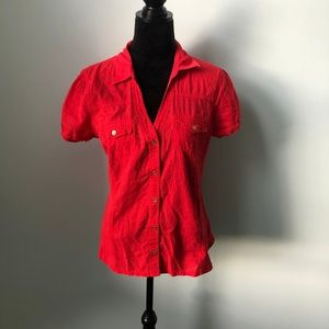 Guess button down v neck top shirt blouse XL
